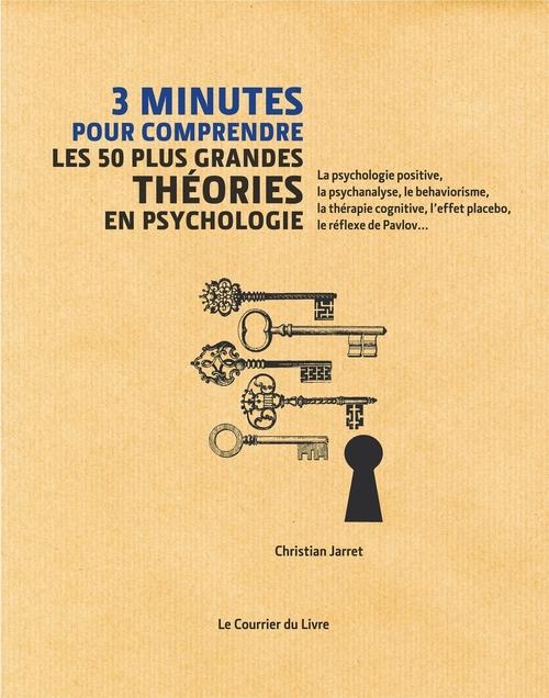 3 minutes pour comprendre ; les 50 plus grandes théories en psychologie ; la psychologie positive, la psychanalyse, le béhaviorisme, la thérapie cognitive, l'effet placebo, le réflexe de Pavlov...