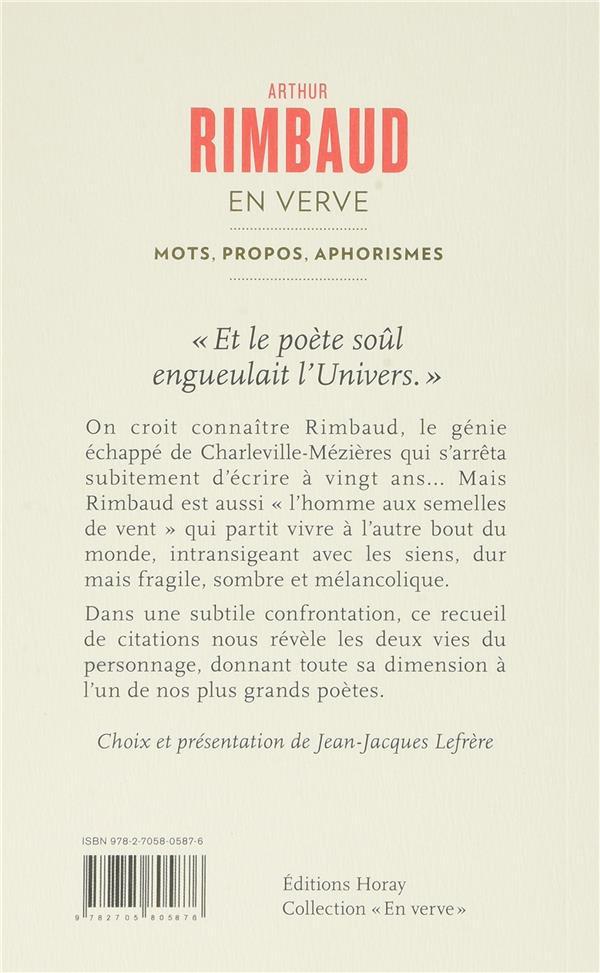 Arthur Rimbaud ; mots, propos, aphorismes