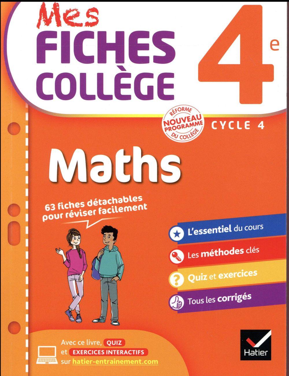 MES FICHES COLLEGE ; maths ; 4ème