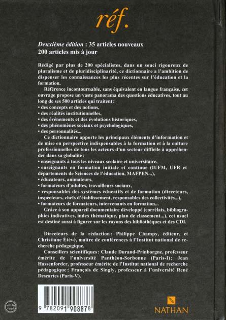 Dictionnaire de l'education et formation