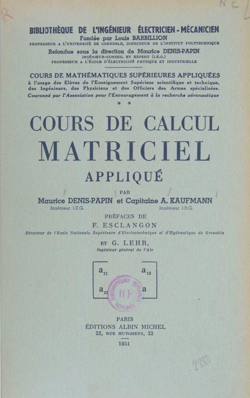 Cours de Calcul matriciel appliqué (2)