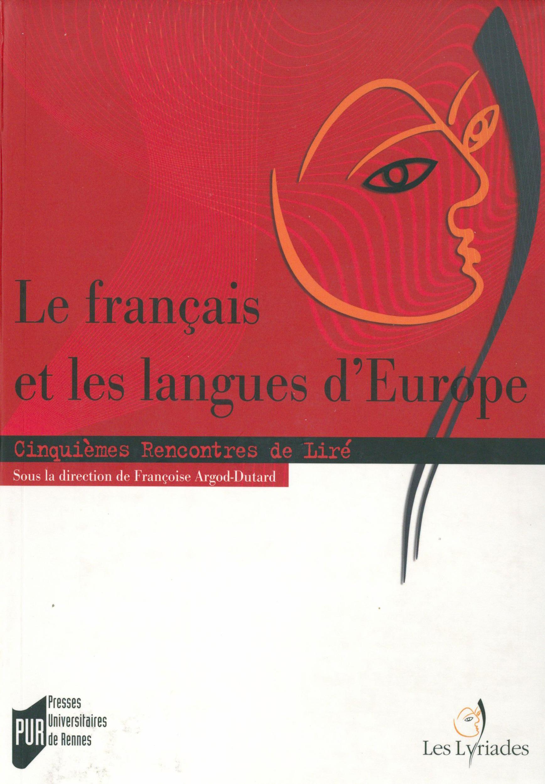 Le francais et les langues d'Europe ; cinquièmes rencontres de Liré