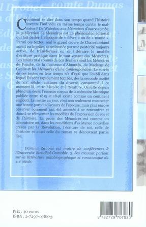 écrire son temps. les mémoires en france de 1815 à 1848