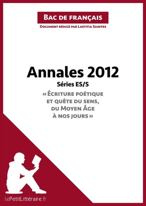 Bac de français 2012 ; annales série ES/S ; corrigé