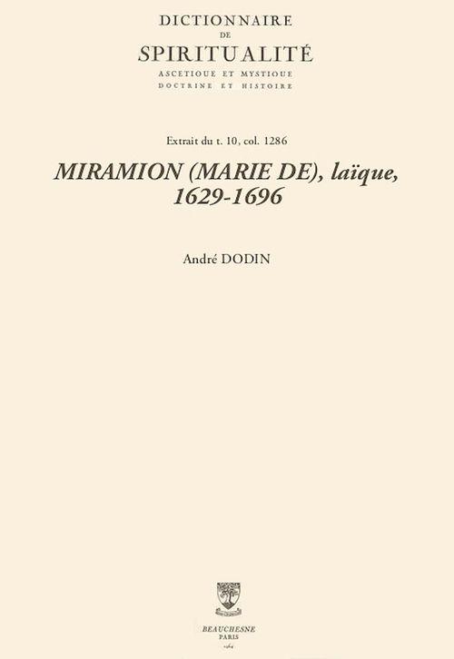 MIRAMION (MARIE DE), laïque, 1629-1696