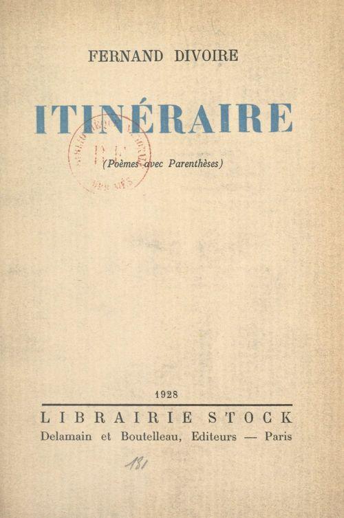 Itinéraire  - Fernand Divoire