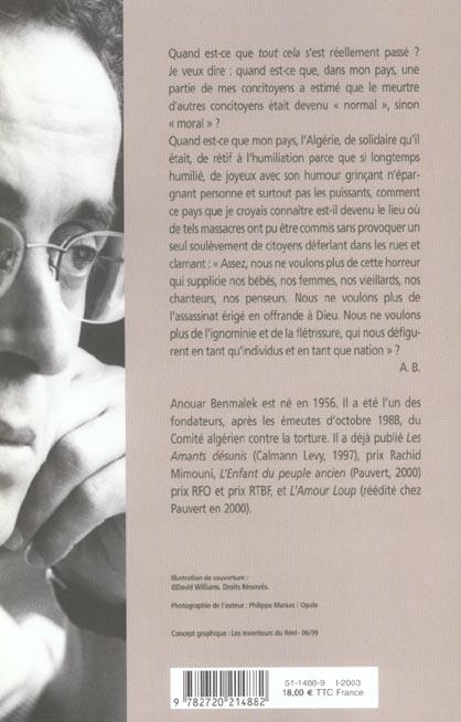 Chroniques de l'Algérie amère ; Algérie, 1985-2002
