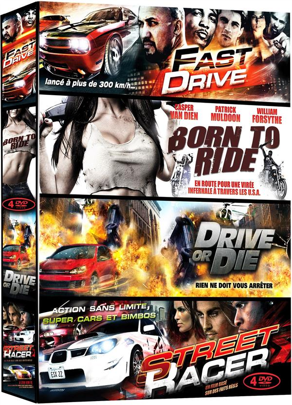 Grosses cylindrées - Coffret 4 films : Fast Drive + Born to Ride + Drive or Die + Street Racer