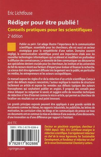 Rédiger pour être publié ; conseils pratiques pour les scientifiques (2e édition)