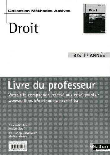 Droit ; Bts 1ere Annee ; Livre Du Professeur (Edition 2009)