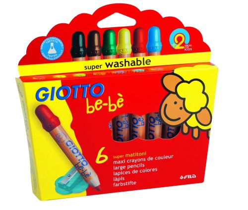Giotto be-bè - Etui-coffret 6 crayons maxi bois + 1 taille-crayon (PEFC)