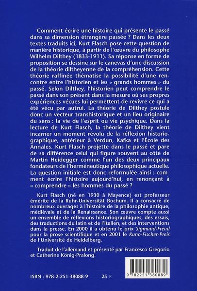Que serait un néohistorisme en histoire de la philosophie ? congé à Dilthey