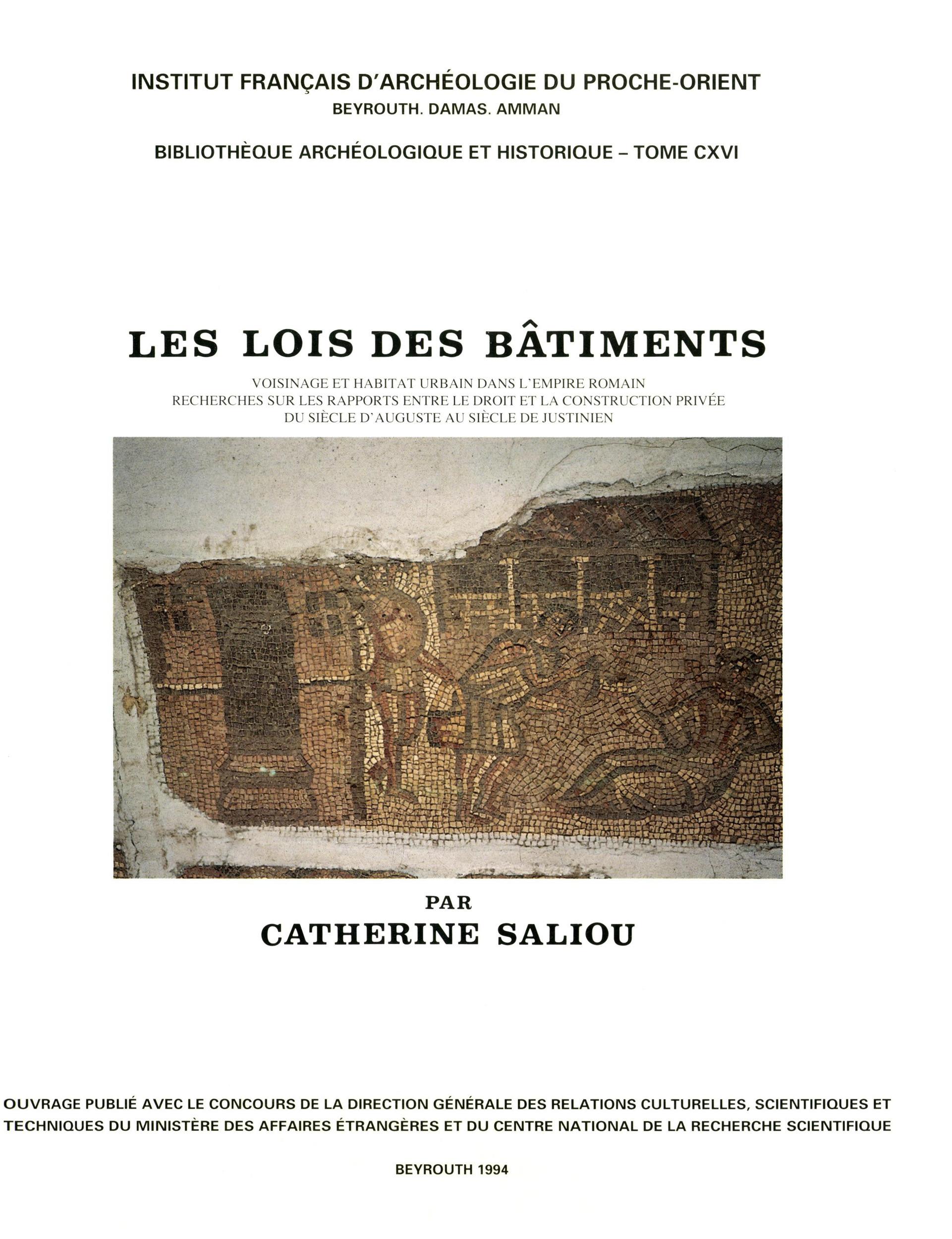 Les lois des batiments, voisinage et habitat urbain dans l empire romain