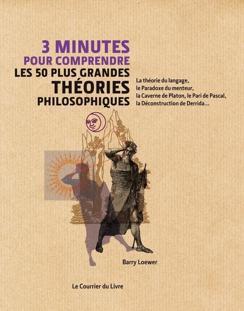 3 minutes pour comprendre ; les 50 plus grandes théories philosophiques ; la théorie du langage, le Paradoxe du menteur, la Caverne de Platon, le Pari de Pascal, la Déconstruction de Derrida...