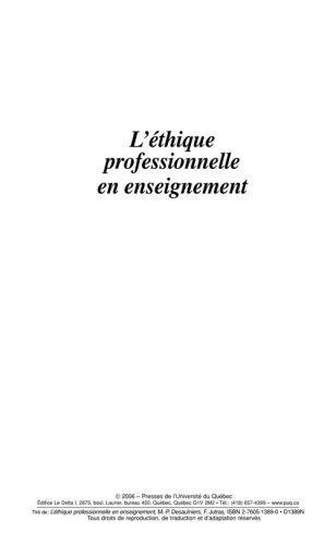 L'éthique professionnelle en enseignement
