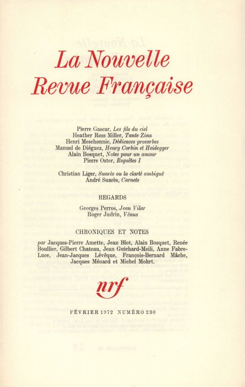 La Nouvelle Revue Française N° 230  - Collectifs  - La Nouvelle Revue Francaise