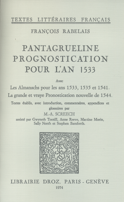 Pantagrueline Prognostication pour l'an 1533  - François Rabelais