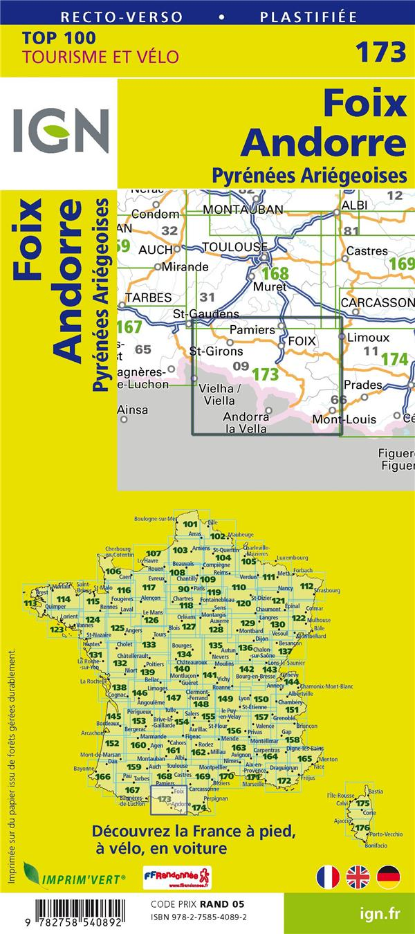 Top100173 Foix Andorre Pyrenees Ariegeoises Collectif Ign Ign Carte Plan Les Volcans Clermont Ferrand