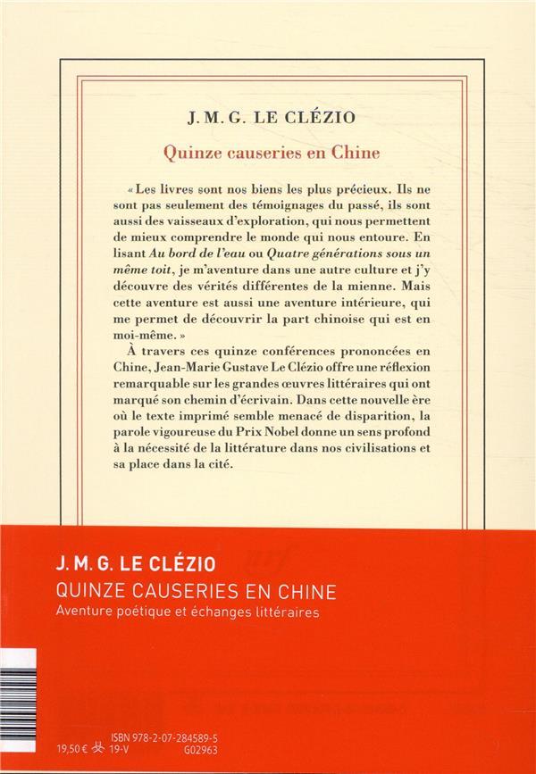 quinze causeries en Chine ; aventure poétique et échanges littéraires