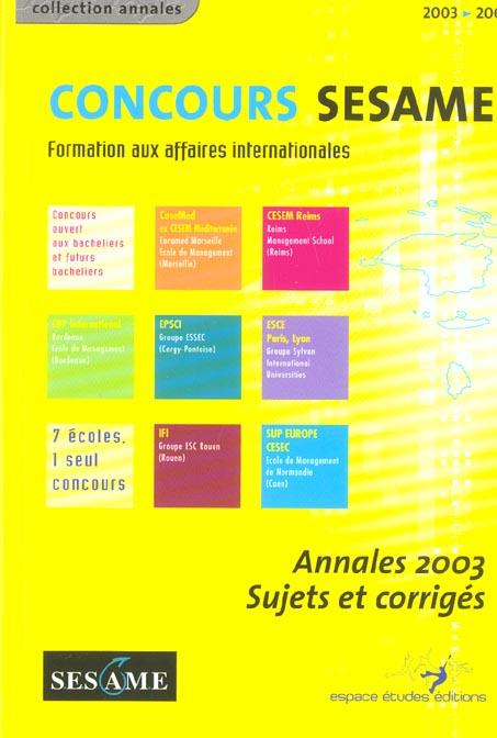 Concours sesame ; formation aux affaires internationales (édition 2003)