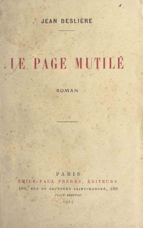 Le page mutilé  - Jean Beslière