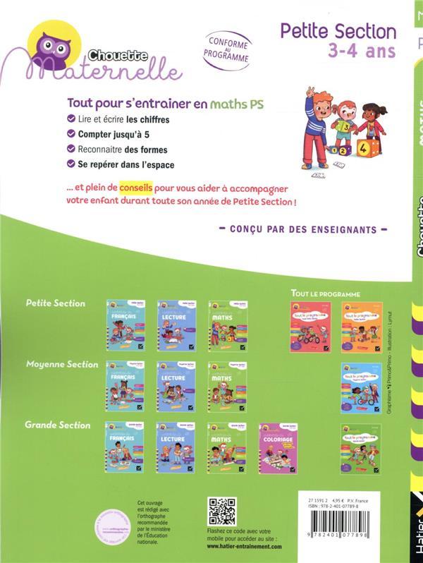 Chouette maternelle ; activités de maths ; PS