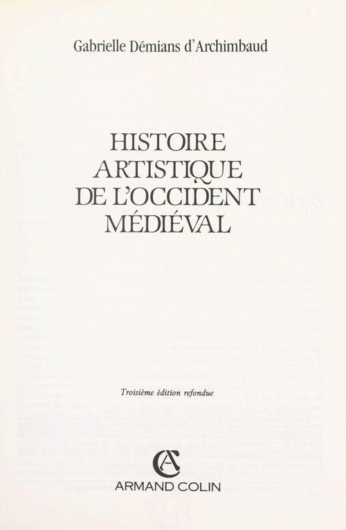 Histoire artistique de l'Occident médiéval