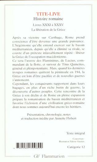 Histoire romaine ; livre XXXI à XXXV ; la libération de la Grèce