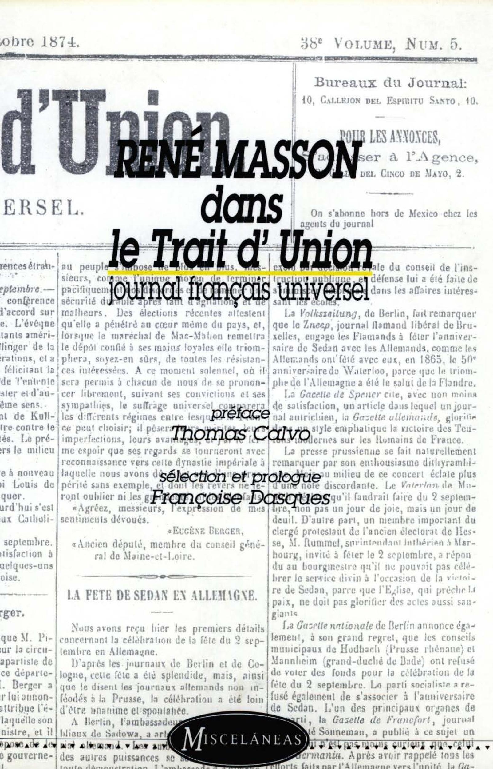 René Masson dans le Trait d'Union, journal français universel