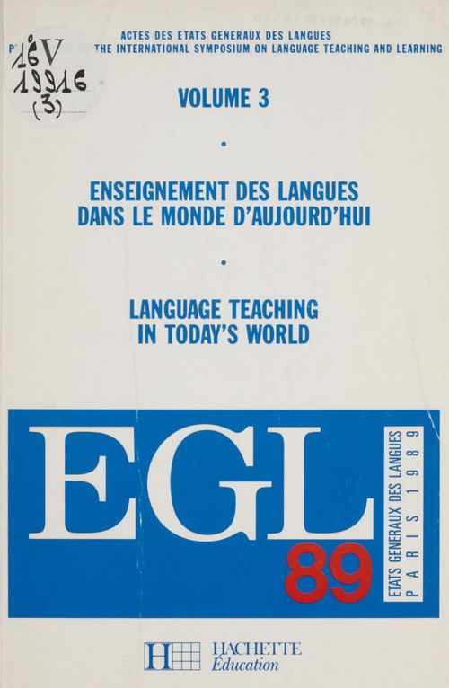 Enseignement des langues dans le monde d'aujourd'hui vol.3