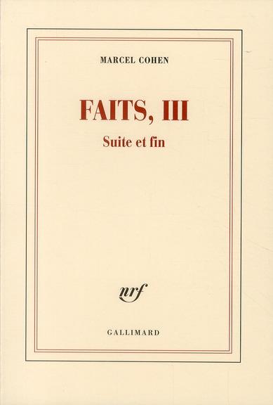 Faits t.3 ; suite et fin