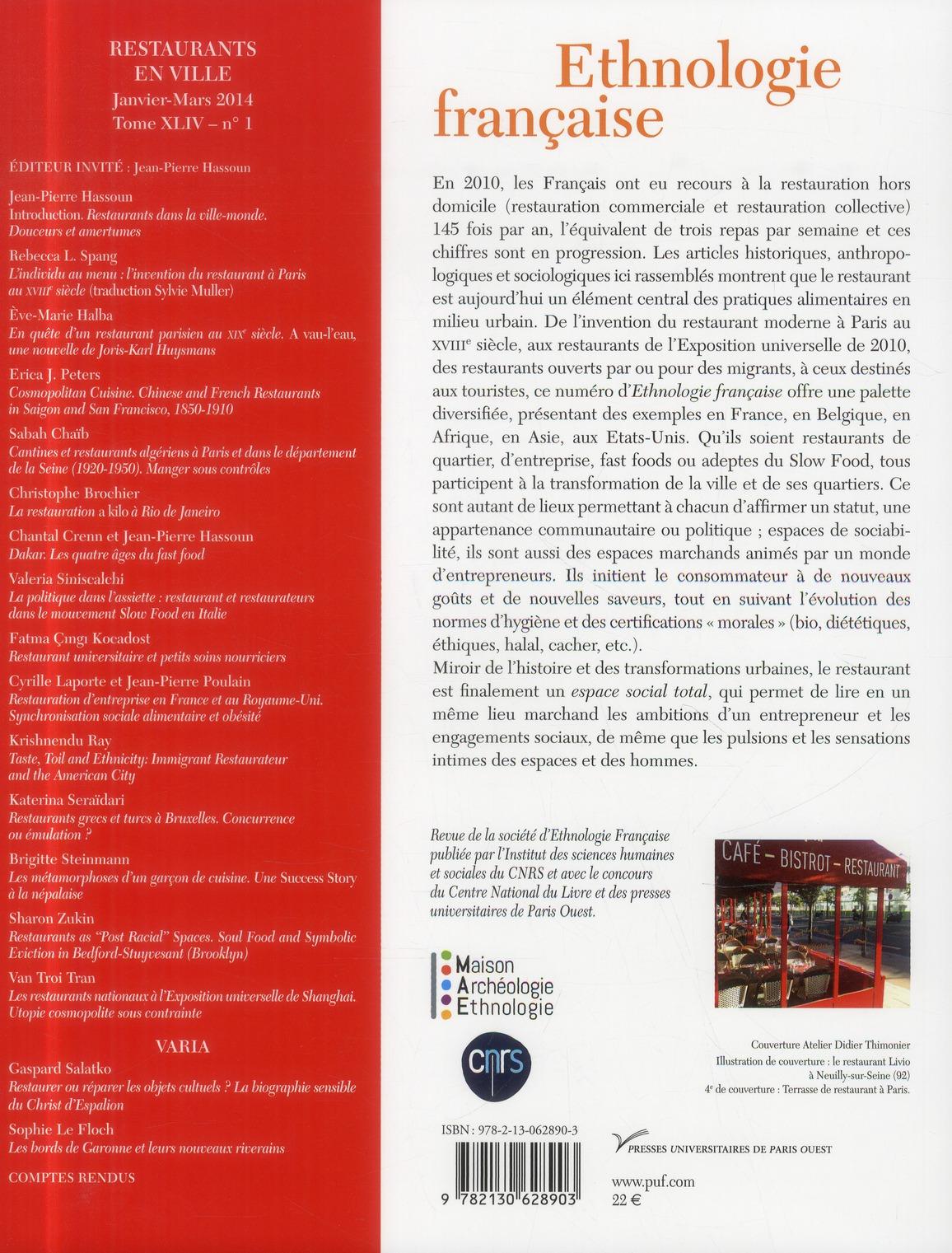 REVUE D'ETHNOLOGIE FRANCAISE n.1 ; restaurants dans la ville (édition 2014)