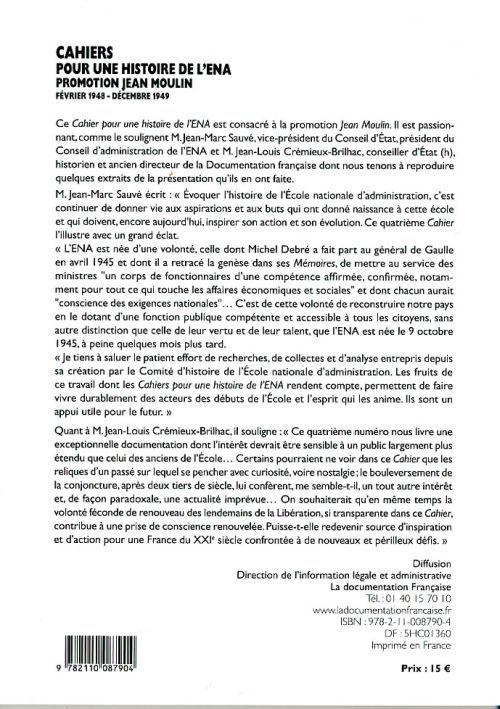 Cahiers pour une histoire de l'ena t.4; promotion jean moulin ; 1948-1949