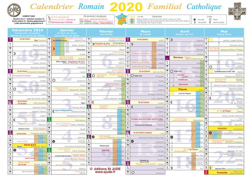 calendrier familial catholique (édition 2020)