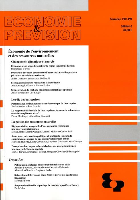 Economie de l'environnement et des ressources naturelles n 190-191 2009/4-5
