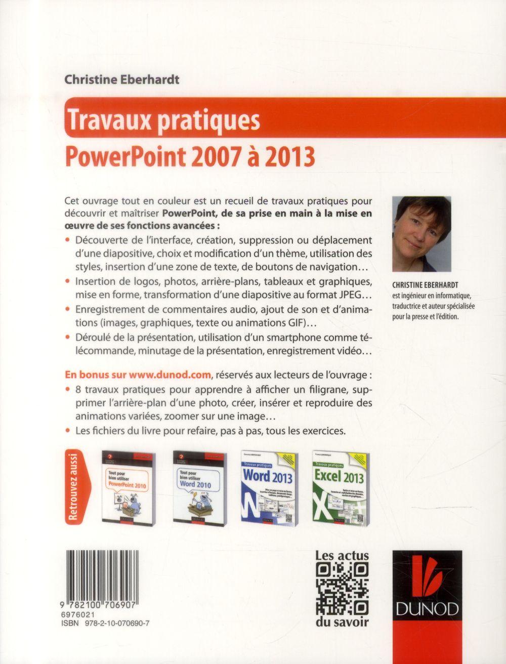 Travaux pratiques ; PowerPoint ; toutes versions 2007 à 2013
