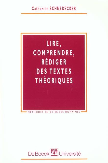 Lire, Comprendre, Rediger Textes Theorique