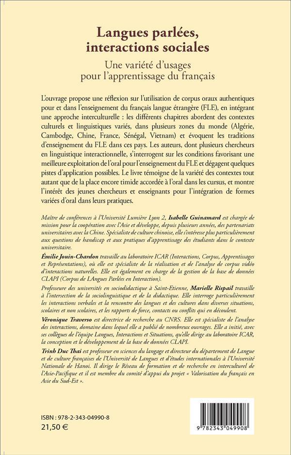 Langues parlées, interactions sociales;  une variété d'usages pour l'apprentissage du francais