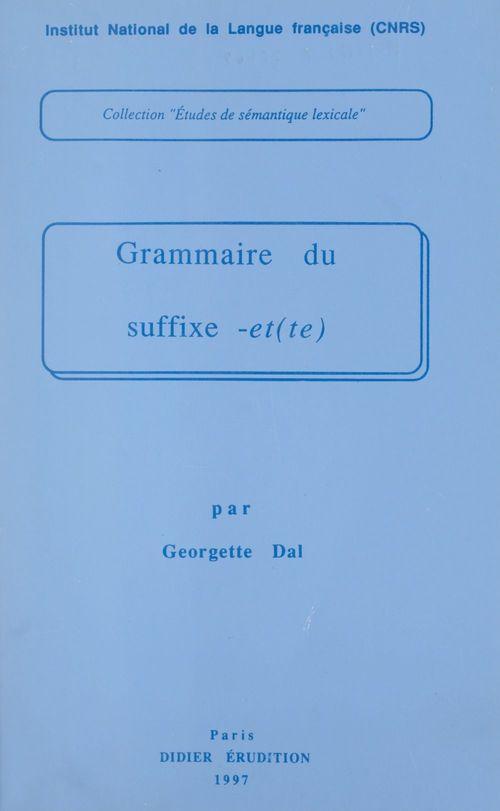 Grammaire du suffixe -et(te)
