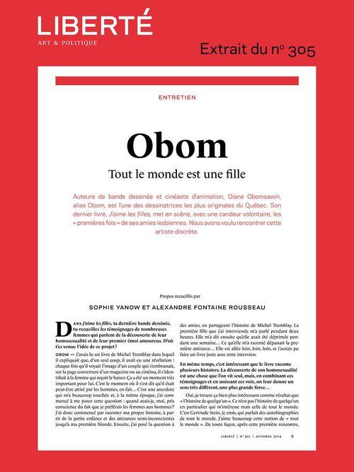 Revue Liberté 305 - Entretien - Obom