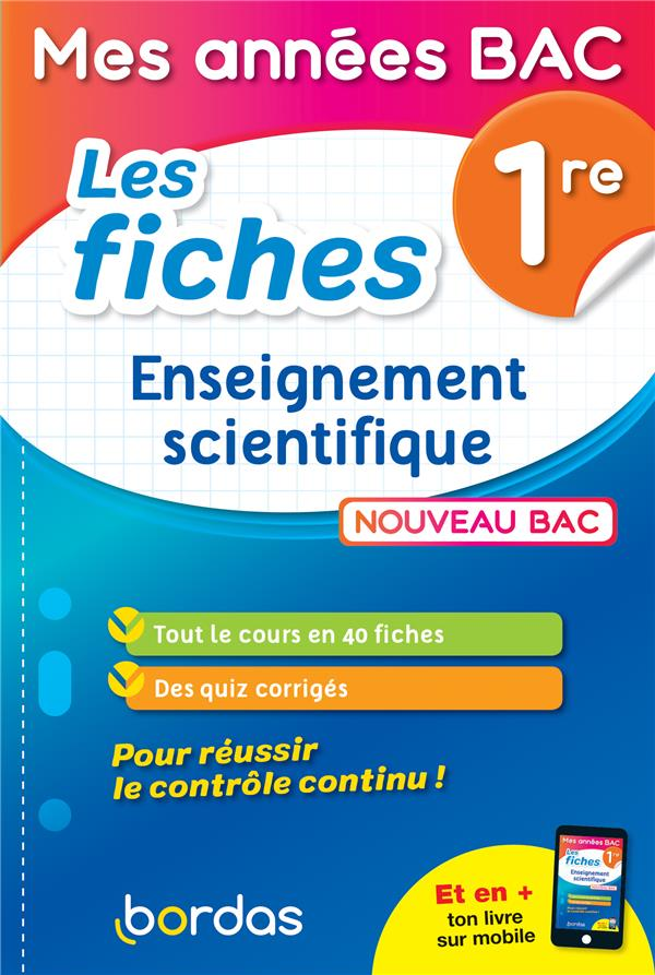 Les fiches enseignement scientifique ; 1re (édition 2019)