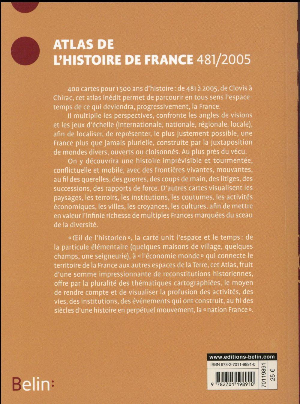 Atlas de l'histoire de France ; 481-2005