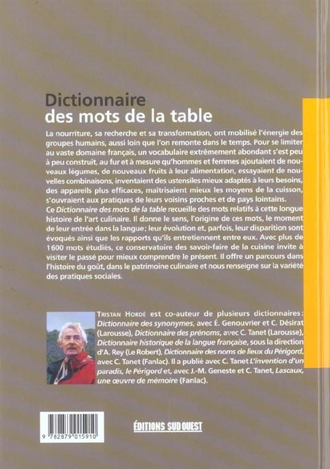 Dictionnaire des mots de la table