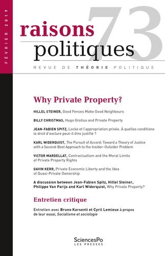 Revue raisons politiques n.73 ; why private property?