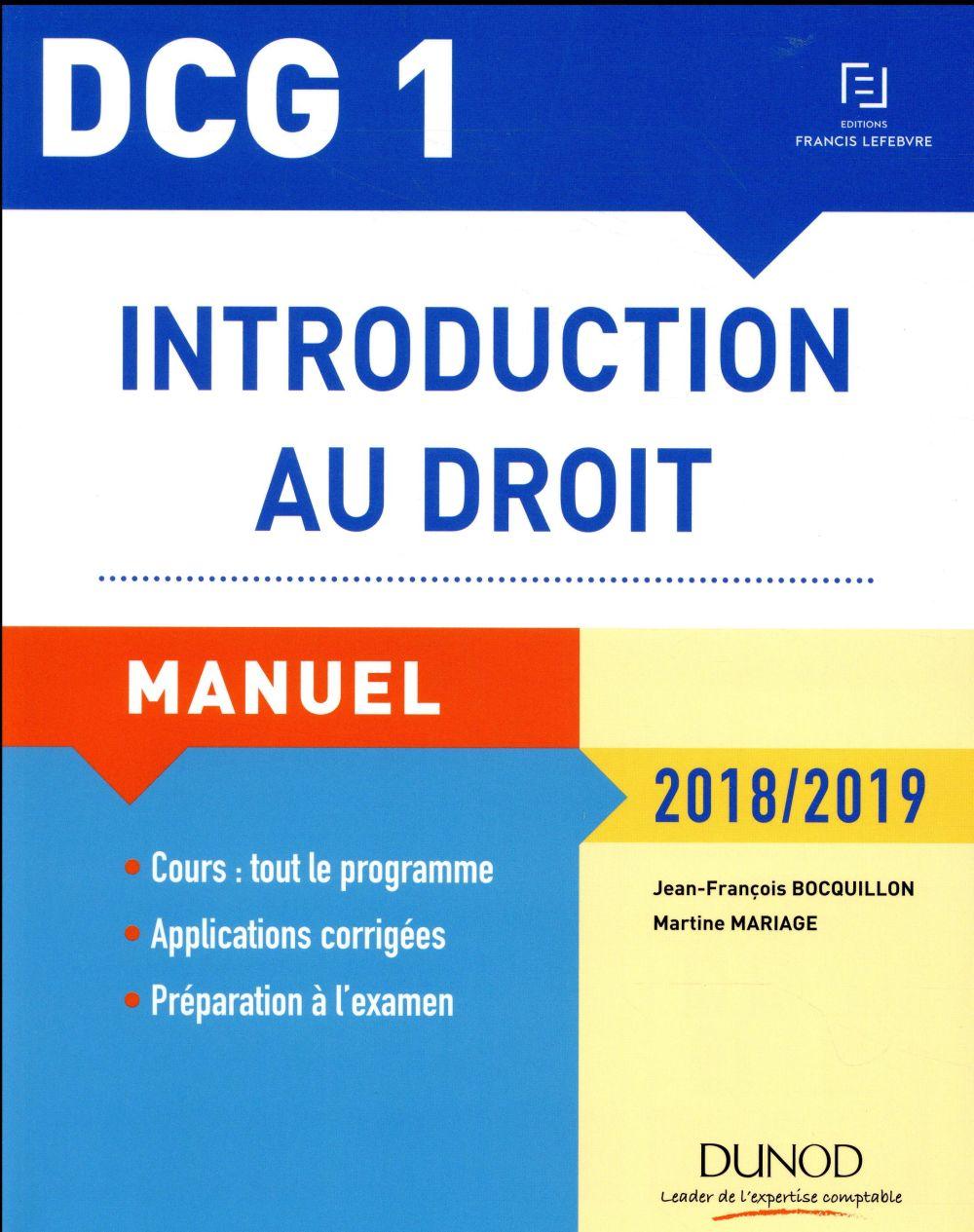 DCG 1 ; introduction au droit (édition 2018/2019)