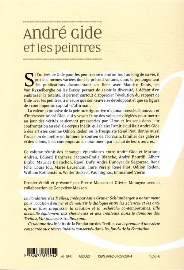 les cahiers de la NRF t.1 ; André Gide et les peintres ; lettres inédites