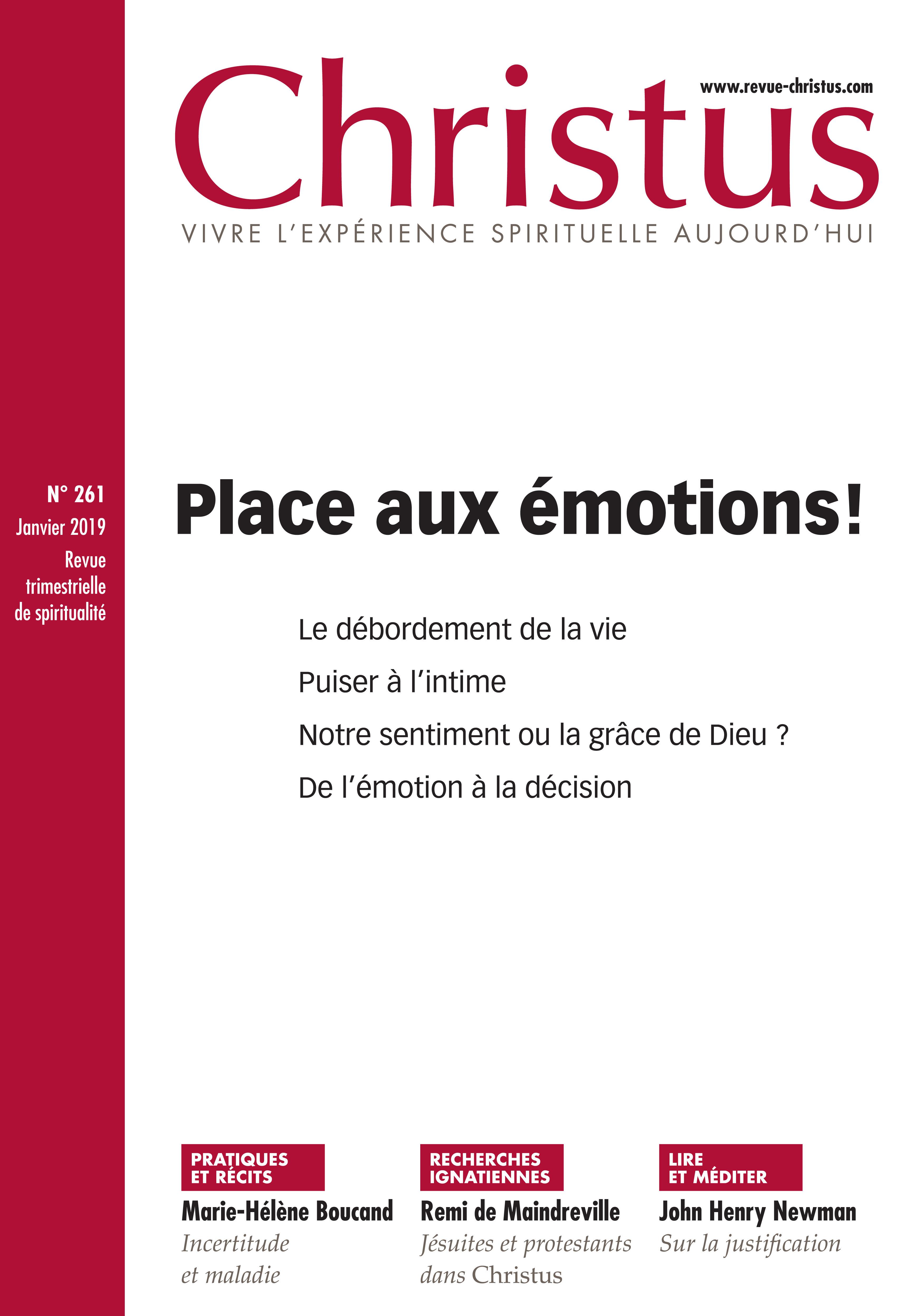 Revue christus N.261 ; les émotions dans la vie spirituelle