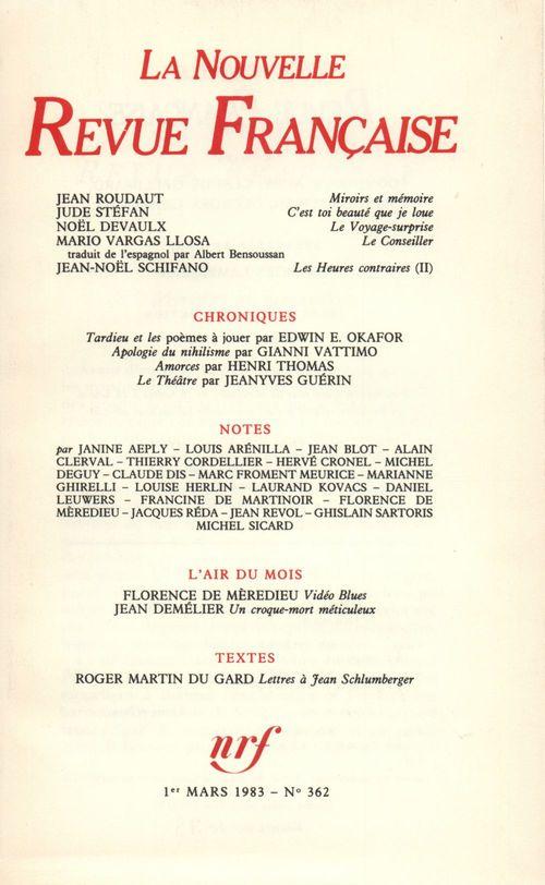 La n.r.f. 362 (mars 1983)