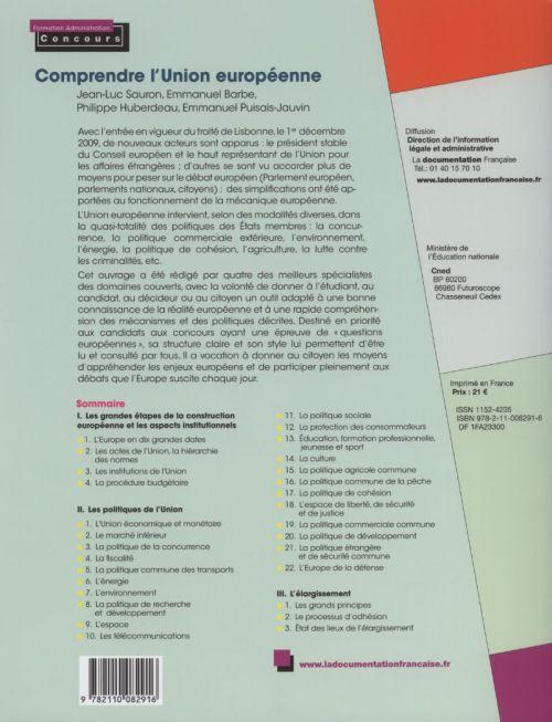 comprendre l'Union européenne ; institutions, politiques, droit