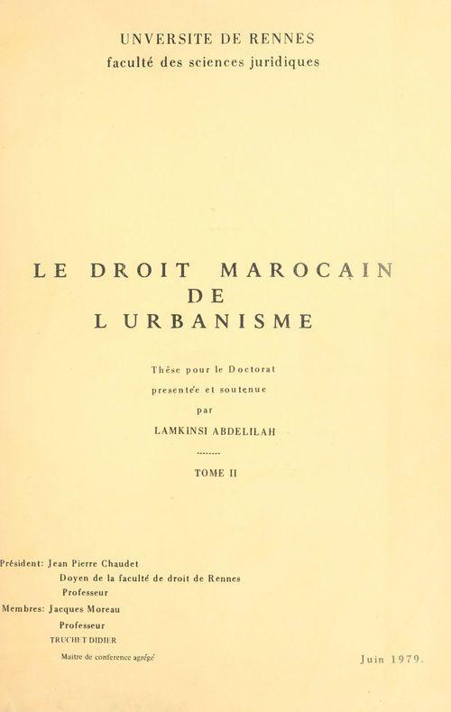 Le droit marocain de l'urbanisme (2)